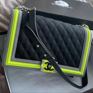 Chanel le boy new medium black neon lime